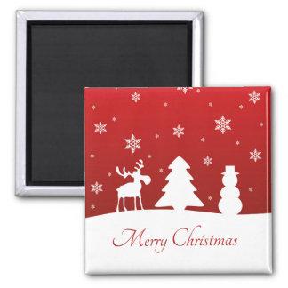 Bonhomme de neige de renne d'arbre de Noël - Magnet Carré