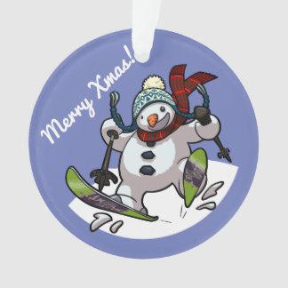 Bonhomme de neige de ski dans joyeux Noël de