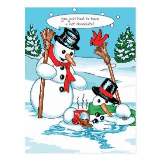 Bonhomme de neige drôle avec la bande dessinée de  carte postale