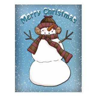 Bonhomme de neige drôle cartes postales