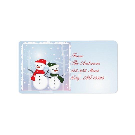 Bonhomme de neige du pays des merveilles d'hiver étiquette d'adresse