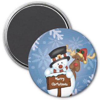 Bonhomme de neige et renne magnet rond 7,50 cm