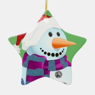 Bonhomme de neige gai ornement étoile en céramique