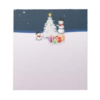 Bonhommes de neige mignons avec l'arbre de Noël - Bloc-note