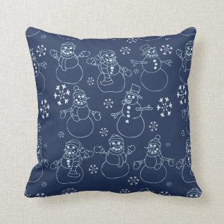 Bonhommes de neige mignons d'hiver coussin décoratif
