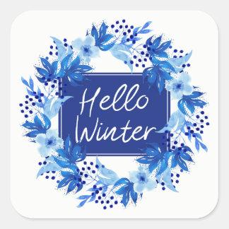 Bonjour autocollant bleu de fleur d'hiver