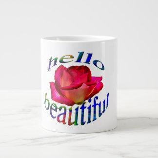 Bonjour beau sur une tasse enorme