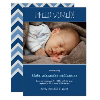 Bonjour bleu de la naissance Announcement//Monaco Carton D'invitation 12,7 Cm X 17,78 Cm