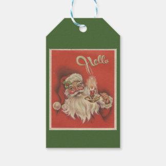 """""""Bonjour"""" étiquette de cadeau de Père Noël"""