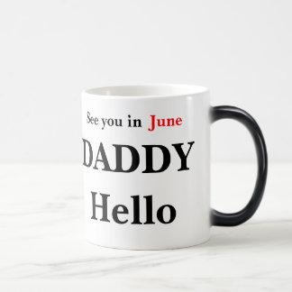 Bonjour la grossesse de papa indiquent la tasse de
