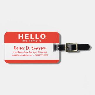 bonjour mon nom est : rouge étiquette pour bagages