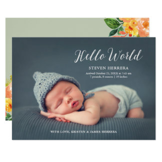 Bonjour monde recouvert avec la naissance florale carton d'invitation  12,7 cm x 17,78 cm