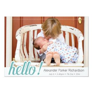 Bonjour naissance de photo de bébé carton d'invitation  12,7 cm x 17,78 cm