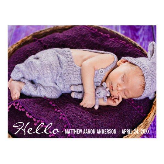 Bonjour nouveau faire-part de photo de bébé cartes postales