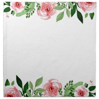 Bonjour serviette de roses roses d'aquarelle de