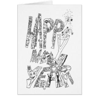 Bonne année 2016 - Griffonnages de Joyeuses Fêtes Carte