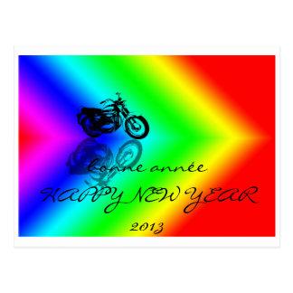 bonne année aux motards bikers carte postale