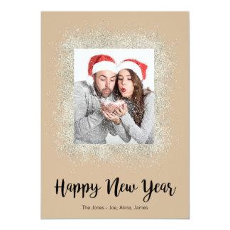 Bonne année avec le cadre argenté de scintillement carton d'invitation  12,7 cm x 17,78 cm