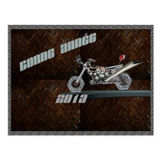 bonne année métallique aux motards cartes postales