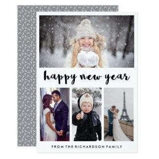 Bonne année simple et à la mode de quatre photos carton d'invitation  12,7 cm x 17,78 cm