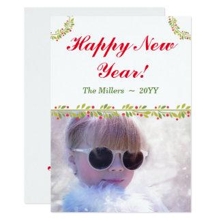 Bonne année verte de salutations de vacances de carton d'invitation  12,7 cm x 17,78 cm