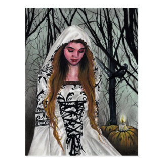 Bonne carte postale de Halloween de sorcière