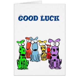 Bonne chance avec des chiens de bande dessinée carte de vœux