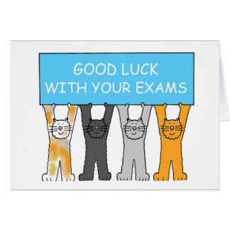 Bonne chance avec vos examens, chats de bande carte de vœux