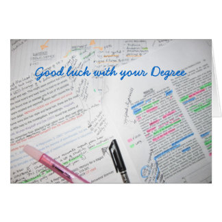 Bonne chance avec votre degré carte de vœux