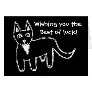 Bonne chance de chat noir carte de vœux