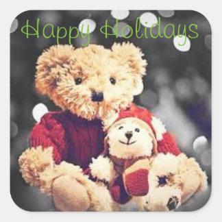 Bonnes fêtes autocollant d'ours de nounours