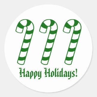 Bonnes fêtes autocollants verts de sucre de canne