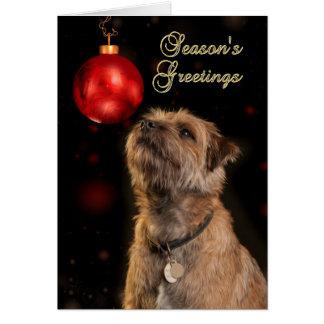 Bonnes Fêtes avec le chien de Terrier de frontière Carte De Vœux