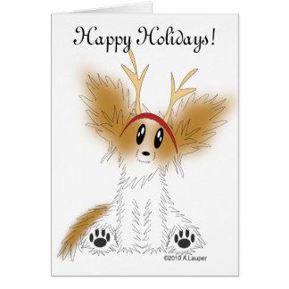 Bonnes fêtes carte de chiot de Papillon de Noël