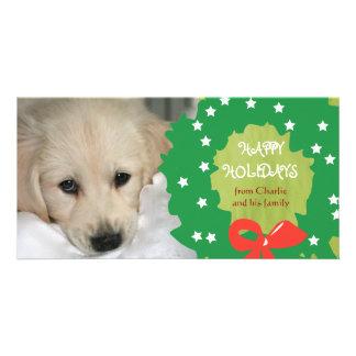 Bonnes fêtes les cartes photos de chien tressent l carte avec photo