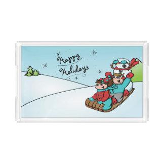 Bonnes fêtes plateau de bonhomme de neige