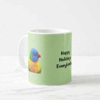 Bonnes fêtes tasse de café de perroquet