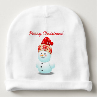 Bonnet Pour Bébé Bonhomme de neige gai de bébé avec le casquette de
