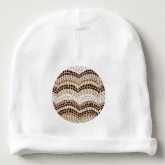 Bonnet Pour Bébé Calotte de coton de bébé avec la mosaïque beige
