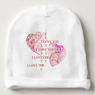 Bonnet Pour Bébé Deux coeurs - je t'aime