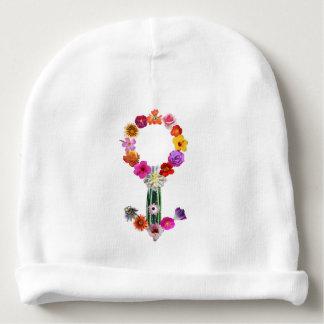 Bonnet Pour Bébé Signe masculin fait de photographies des fleurs