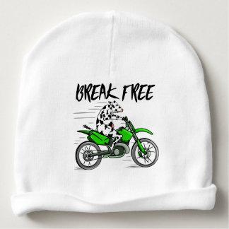 Bonnet Pour Bébé Vache montant une moto vert clair