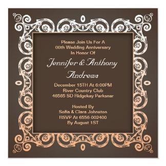 bord - roze elegante huwelijksverjaardag 13,3x13,3 vierkante uitnodiging kaart