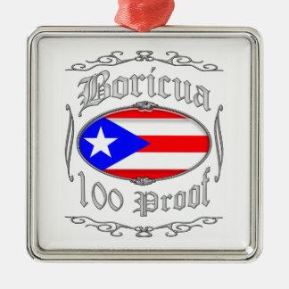 Boricua 100 Proof2 Ornement Carré Argenté