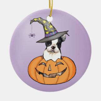 Boston Terrier Halloween Ornement Rond En Céramique