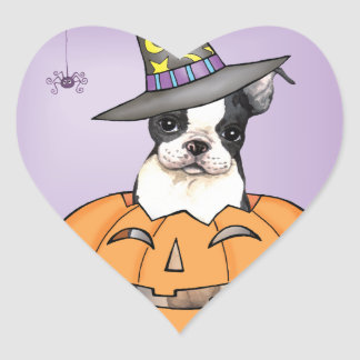 Boston Terrier Halloween Sticker Cœur