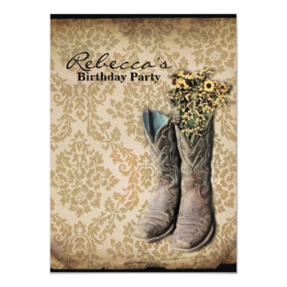 Bottes de cowboy de pays occidental de fleur carton d'invitation  11,43 cm x 15,87 cm