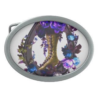 Boucle De Ceinture Ovale Botte florale vintage de Goth et fer à cheval