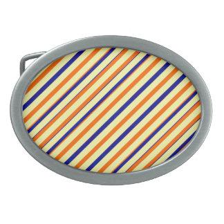 Boucle De Ceinture Ovale Boucle orange audacieuse d'ovale de rayure bleue