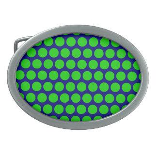 Boucle De Ceinture Ovale Boucle ovale bleue de point vert